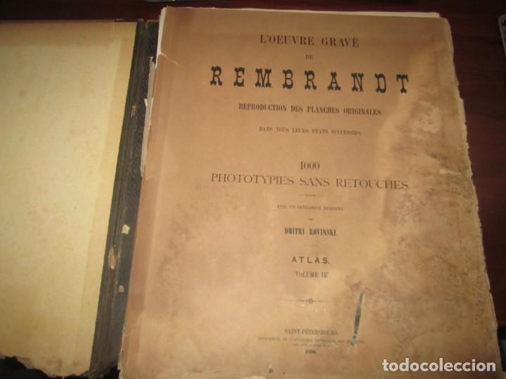LOEUVRE GRAVE DE REMBRANDT 1000 PHOTOTYPIES DMITRI ROVINSKI 1890 SAINT-PETERSBOURG (Libros Antiguos, Raros y Curiosos - Bellas artes, ocio y coleccion - Pintura)