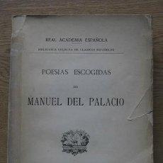Libros antiguos: POESÍAS ESCOGIDAS. PALACIO (MANUEL DEL). Lote 17495510