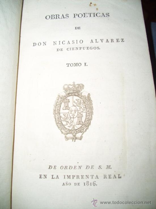 Libros antiguos: Obras Poéticas 2T por Nicasio Alvarez de Cienfuegos de Imprenta Real en Madrid 1816 - Foto 2 - 20919723