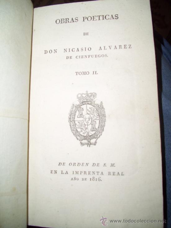 Libros antiguos: Obras Poéticas 2T por Nicasio Alvarez de Cienfuegos de Imprenta Real en Madrid 1816 - Foto 3 - 20919723