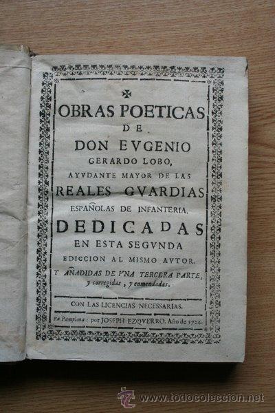 OBRAS POÉTICAS DE... LOBO (EUGENIO GERARDO) (Libros antiguos (hasta 1936), raros y curiosos - Literatura - Poesía)