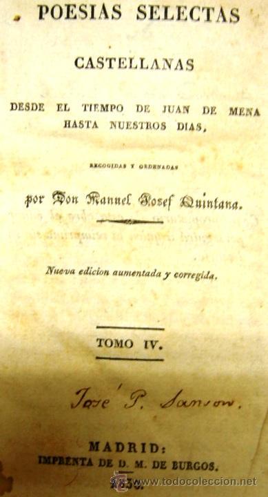 POESÍAS SELECTAS CASTELLANAS - MANUEL JOSEF QUINTANA - TOMO IV - MADRID 1830 (Libros antiguos (hasta 1936), raros y curiosos - Literatura - Poesía)