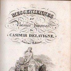 Libros antiguos: MESSENIENNES ET POESIES DIVERSES POR CASIMIR DELAVIGNE - LADVOCAT, PARIS 1823. Lote 27368049