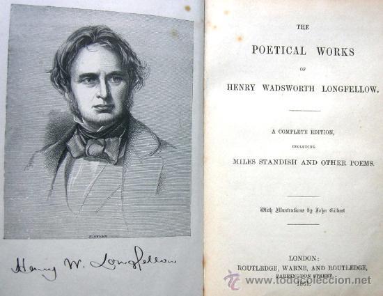 THE POETICAL WORKS OF HENRY WADSWORTH LONGFELLOW - LONDON - AÑO 1861 - MILES STANDISH - EN INGLÉS (Libros antiguos (hasta 1936), raros y curiosos - Literatura - Poesía)