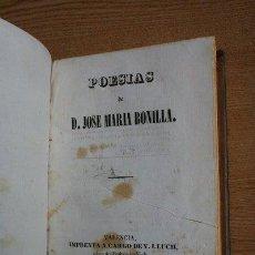 Libros antiguos: POESÍAS. BONILLA (JOSÉ MARÍA). Lote 29658088