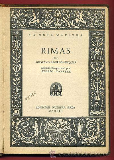 Libro Rimas Becquer Glosario Becqueriano Ri Comprar