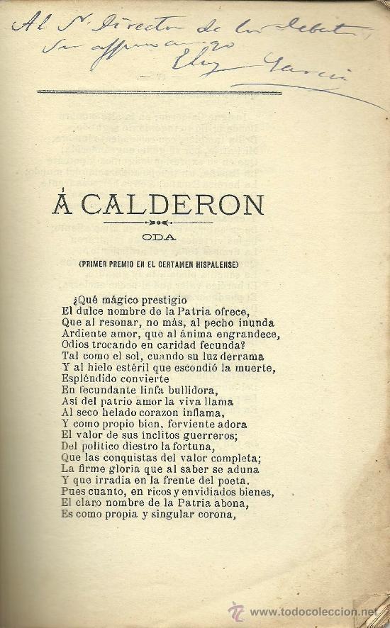 Libros antiguos: A Calderón: oda. Calderón y su siglo: ideales de Calderón / Eloy García Valero - 1881 * autógrafo - Foto 3 - 31765672