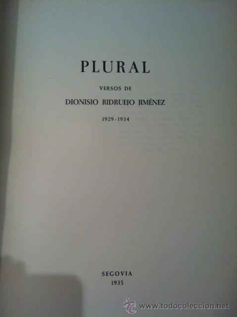 Libros antiguos: PLURAL. DIONISIO RIDRUEJO. Edición de bibliófilo con aguafuerte. Papeles son Armadans - Foto 3 - 31989287