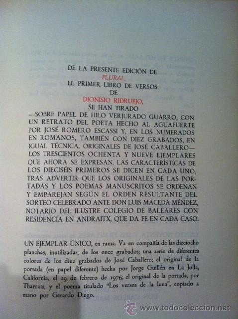 Libros antiguos: PLURAL. DIONISIO RIDRUEJO. Edición de bibliófilo con aguafuerte. Papeles son Armadans - Foto 5 - 31989287