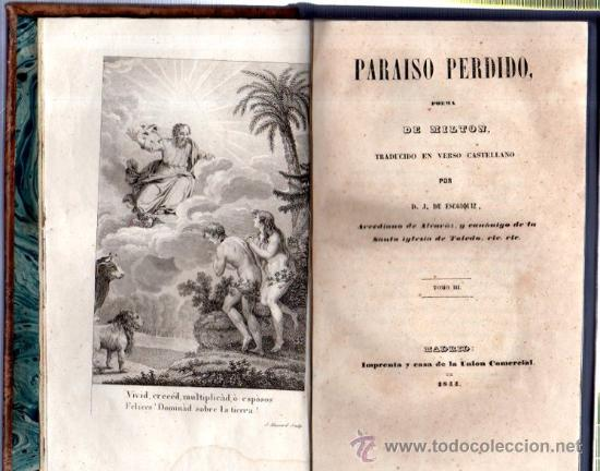Libros antiguos: PARAÍSO PERDIDO, POEMA DE MILTON, ESCOIQUIZ, 3TOMOS, MADRID, UNIÓN COMERCIAL 1844 - Foto 2 - 33245967