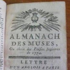 Libros antiguos: ALMANACH DES MUSES, OU CHOIX DES POËSIES FUGITIVES DE 1774. (1775). Lote 34384647