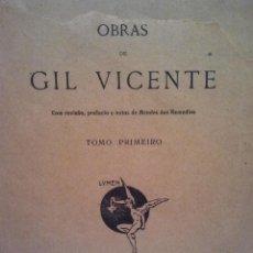 Libros antiguos: OBRAS DE GIL VICENTE. TOMO I. EDITOR FRANCA AMADO. COIMBRA 1907.. Lote 34415656