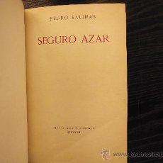 Libros antiguos: SEGURO AZAR, PEDRO SALINAS, 1929. Lote 36129991