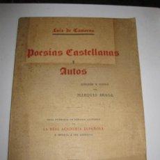 Libros antiguos: LUIS DE CAMOENS. POESIAS CASTELLANAS Y AUTOS. LISBOA IMPRENTA NACIONAL 1929.. Lote 36468842
