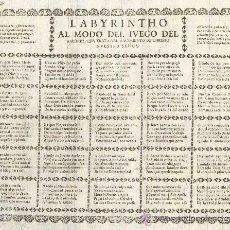 Libros antiguos: POESIA VISUAL. S. XVI.'LABYRINTHO AL MODO DE JUEGO DEL AXEDREZ...' 40 X 25 CM. 1 HOJA.. Lote 36629139