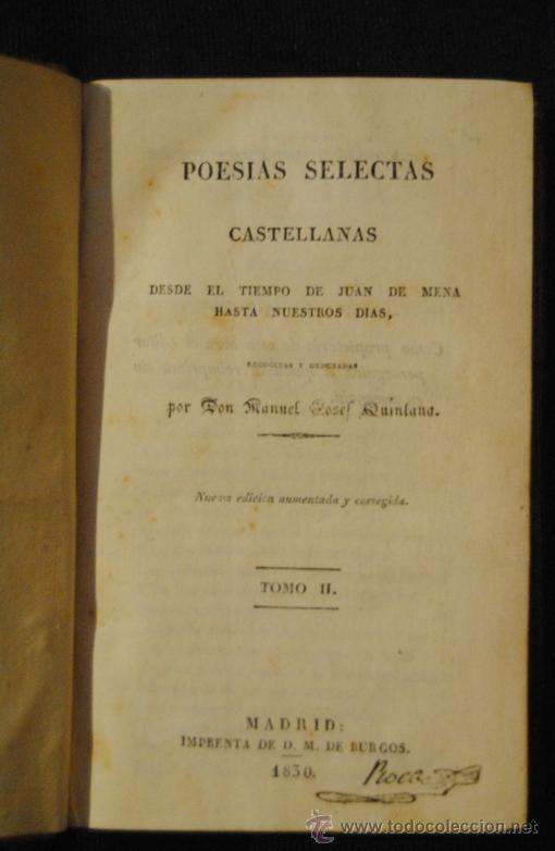 Libros antiguos: POESÍAS SELECTAS CASTELLANAS , MANUEL JOSE QUINTANA TOMO II - Foto 4 - 37152245