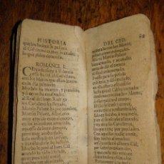 Libros antiguos: AUTÉNTICO ROMANCERO ESPAÑOL MEDIEVAL - HISTORIA DEL CID - LIBRO MUY ANTIGUO. QUIZÁS SIGLO 16 O 17... Lote 40285270