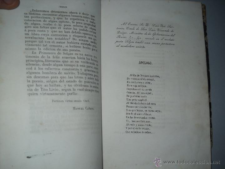 Libros antiguos: LA PRIMAVERA COLECCION DE POESIAS DE DON JOSE SELGAS Y CARRASCO,MADRID 1850 1ªEDICION. - Foto 5 - 40542689