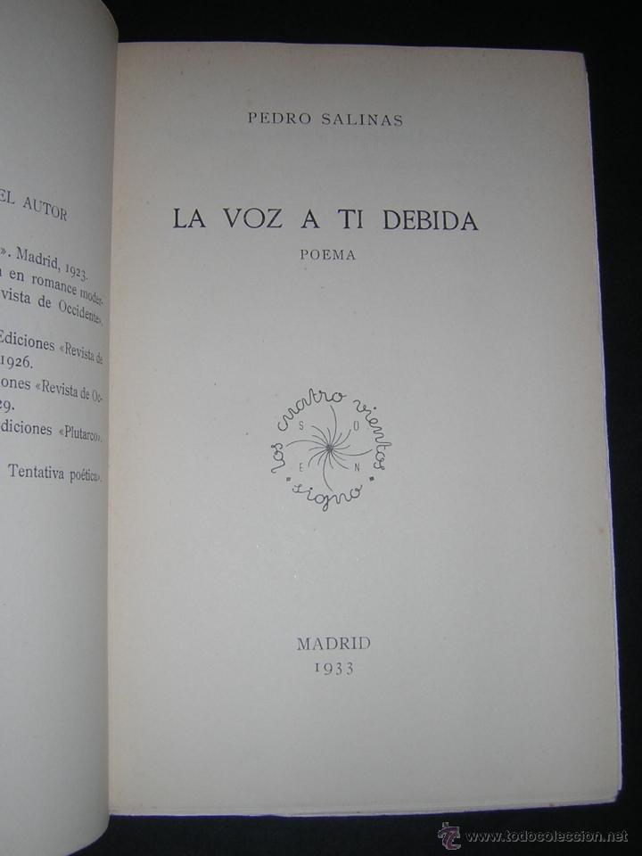 1933 - pedro salinas - la voz a ti debida - pri - Vendido en Venta Directa  - 40564342