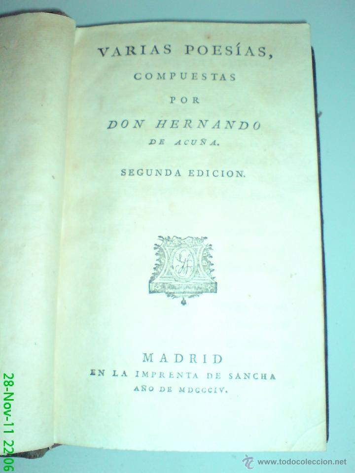 VARIAS POESÍAS COMPUESTAS POR DON HERNANDO DE ACUÑA - SEGUNDA EDICIÓN 1804 (Libros antiguos (hasta 1936), raros y curiosos - Literatura - Poesía)