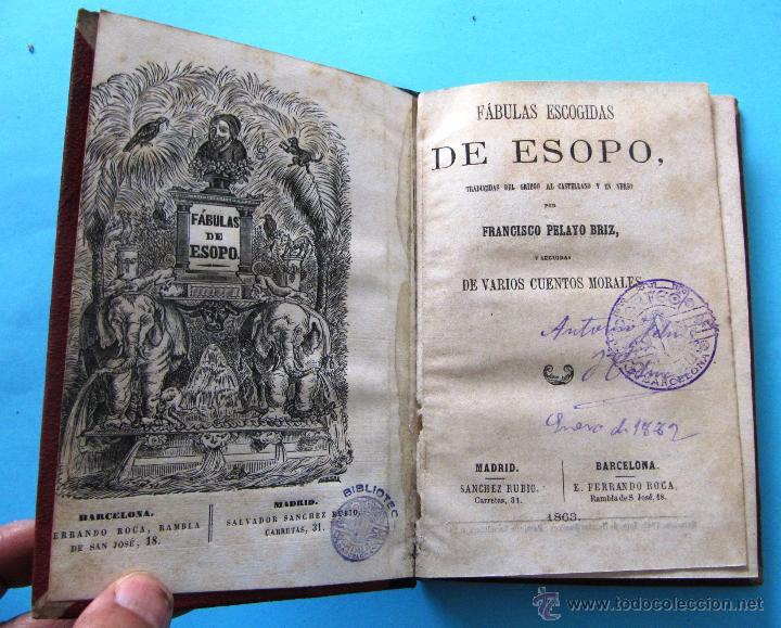 FÁBULAS ESCOGIDAS DE ESOPO. TRADUCCION POR FRANCISCO PELAYO BRIZ. MADRID BARCELONA, 1863. (Libros antiguos (hasta 1936), raros y curiosos - Literatura - Poesía)
