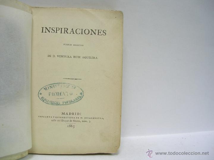 VENTURA RUIZ AGUILERA. INSPIRACIONES. 1865 (Libros antiguos (hasta 1936), raros y curiosos - Literatura - Poesía)