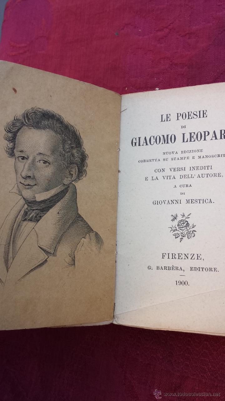 1900.- LE POESIE. GIACOMO LEOPARDI (Libros antiguos (hasta 1936), raros y curiosos - Literatura - Poesía)