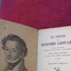 Libros antiguos: 1900.- LE POESIE. GIACOMO LEOPARDI. Lote 41843828