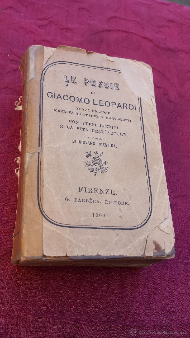 Libros antiguos: 1900.- LE POESIE. GIACOMO LEOPARDI - Foto 2 - 41843828