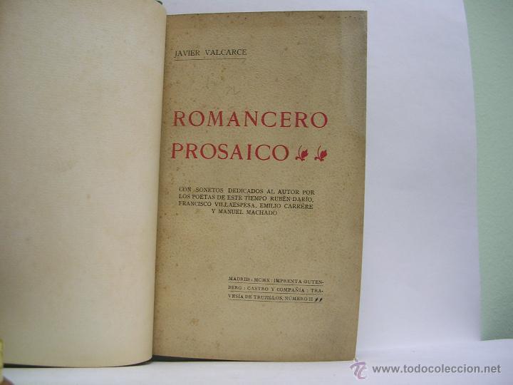 JAVIER VALCARCE. ROMANCERO PROSAICO. 1910 (Libros antiguos (hasta 1936), raros y curiosos - Literatura - Poesía)
