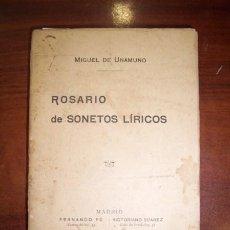 Libros antiguos: UNAMUNO, MIGUEL DE. ROSARIO DE SONETOS LÍRICOS. Lote 42985885