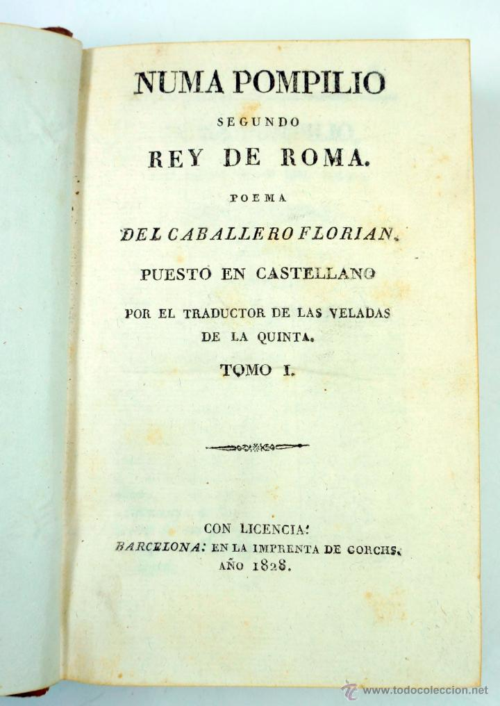 NUMA POMPILIO SEGUNDO REY DE ROMA, POEMA DEL CABALLERO FLORIAN, TOMO 1 Y 2. AÑO 1828. 14,5X9CM. (Libros antiguos (hasta 1936), raros y curiosos - Literatura - Poesía)