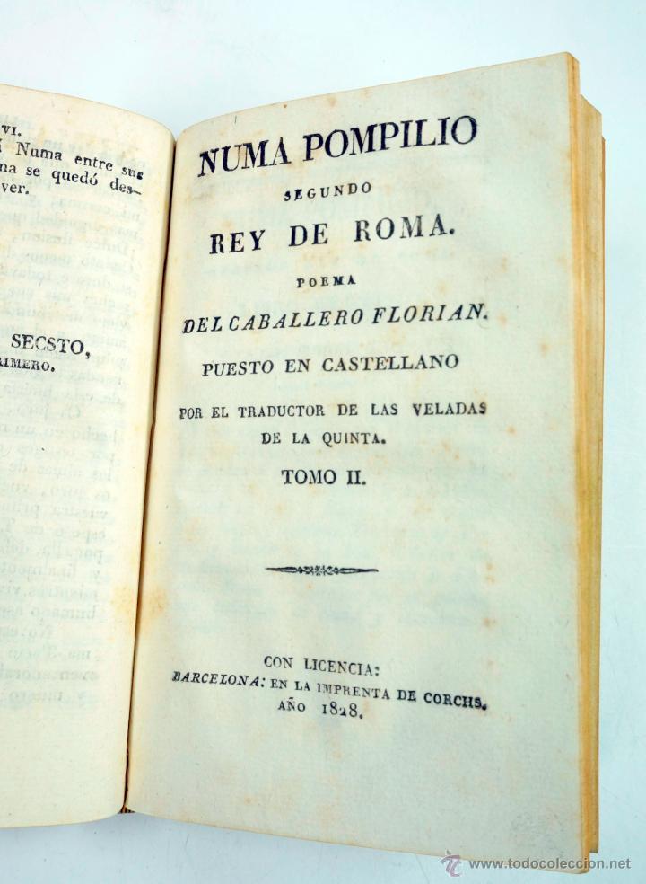 Libros antiguos: Numa pompilio segundo rey de roma, poema del caballero florian, tomo 1 y 2. año 1828. 14,5x9cm. - Foto 3 - 43449335