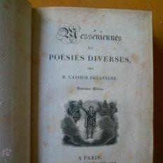 Libros antiguos: MESSÉNIENNES ET POESIES DIVERSES. DELAVIGNE 1824. 7 OBRAS EN UN VOLUMEN. Lote 48283942