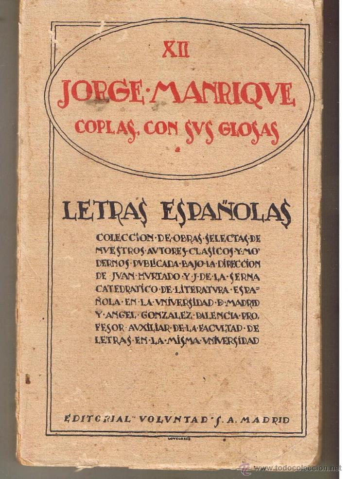 Letras espa olas xii jorge manrique coplas comprar - Libros antiguos valor ...
