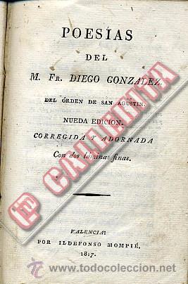 POESÍAS DEL M. FR. DIEGO GONZÁLEZ. VALENCIA 1817. (Libros antiguos (hasta 1936), raros y curiosos - Literatura - Poesía)