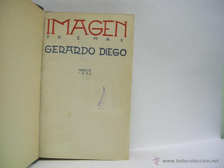 GERARDO DIEGO. IMAGEN. PRIMERA EDICIÓN RARA (Libros antiguos (hasta 1936), raros y curiosos - Literatura - Poesía)