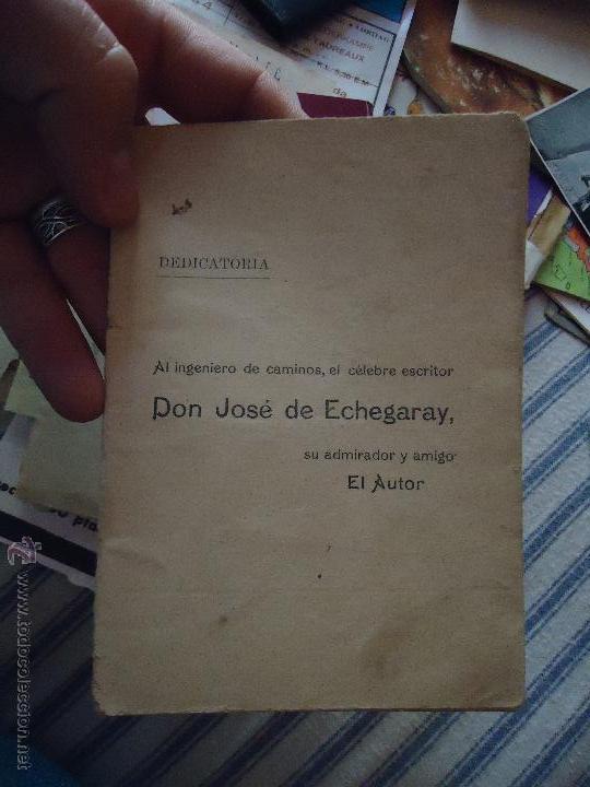 DEDICATORIA INGENIERO DE CAMINOS DON JOSE DE ECHEGARAY , CANTO POESIA 30 PAGINAS (Libros antiguos (hasta 1936), raros y curiosos - Literatura - Poesía)