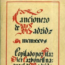 Libros antiguos: PILAR DIEZ CARBONELL : CANCIONERO DE MADRID (1927). Lote 50211085