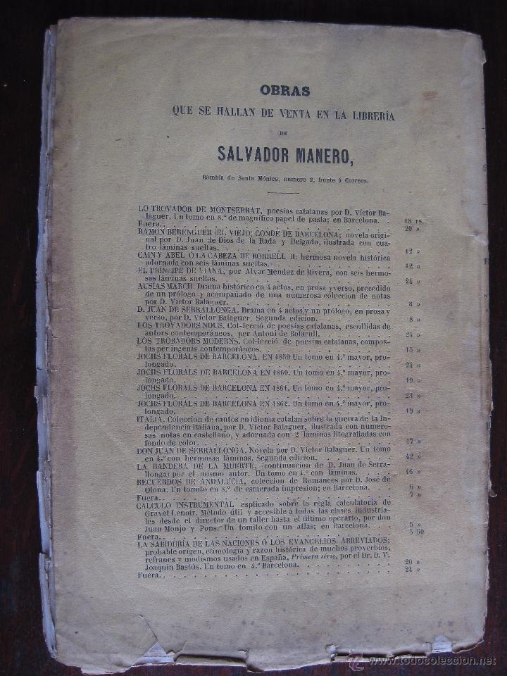 Libros antiguos: JOCHS FLORALS DE BARCELONA AÑO 5 DE LA RESTAURACIÓN 1863 - Foto 3 - 50728824