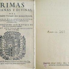 Libros antiguos: VEGA CARPIO, LOPE FÉLIX DE. RIMAS HUMANAS Y DIVINAS DEL LICENCIADO TOMÉ DE BURGUILLOS... 1935.. Lote 51354458