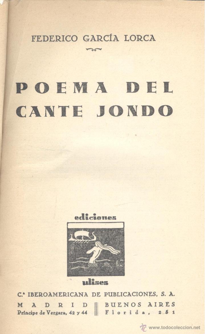 Federico Garcia Lorca Poema Del Cante Jondo 1ª Ed Madrid Editorial Ulises 1931