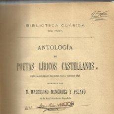 Livros antigos: ANTOLOGÍA DE POETAS LÍRICOS CASTELLANOS. MARCELINO MENÉNDEZ Y PELAYO. LIB. DE PERLADO.MADRID.1907. Lote 52425144