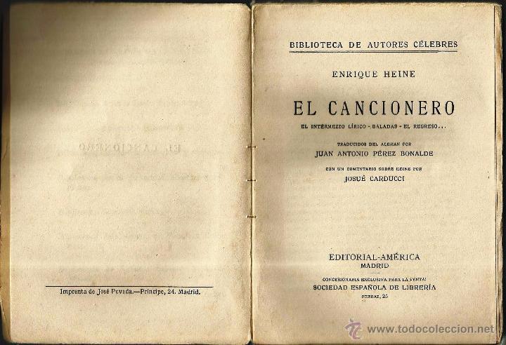 Libros antiguos: REGALA LECTURA. -EL CANCIONERO- de ENRIQUE HEINE - Foto 3 - 53003210