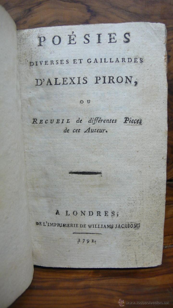 POÉSIES DIVERSES ET GAILLARDES. ALEXIS PIRON. 1792. (Libros antiguos (hasta 1936), raros y curiosos - Literatura - Poesía)
