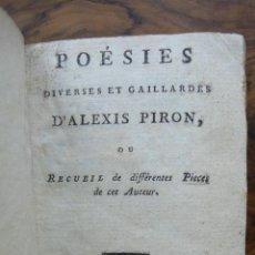 Libros antiguos: POÉSIES DIVERSES ET GAILLARDES. ALEXIS PIRON. 1792. . Lote 53373448