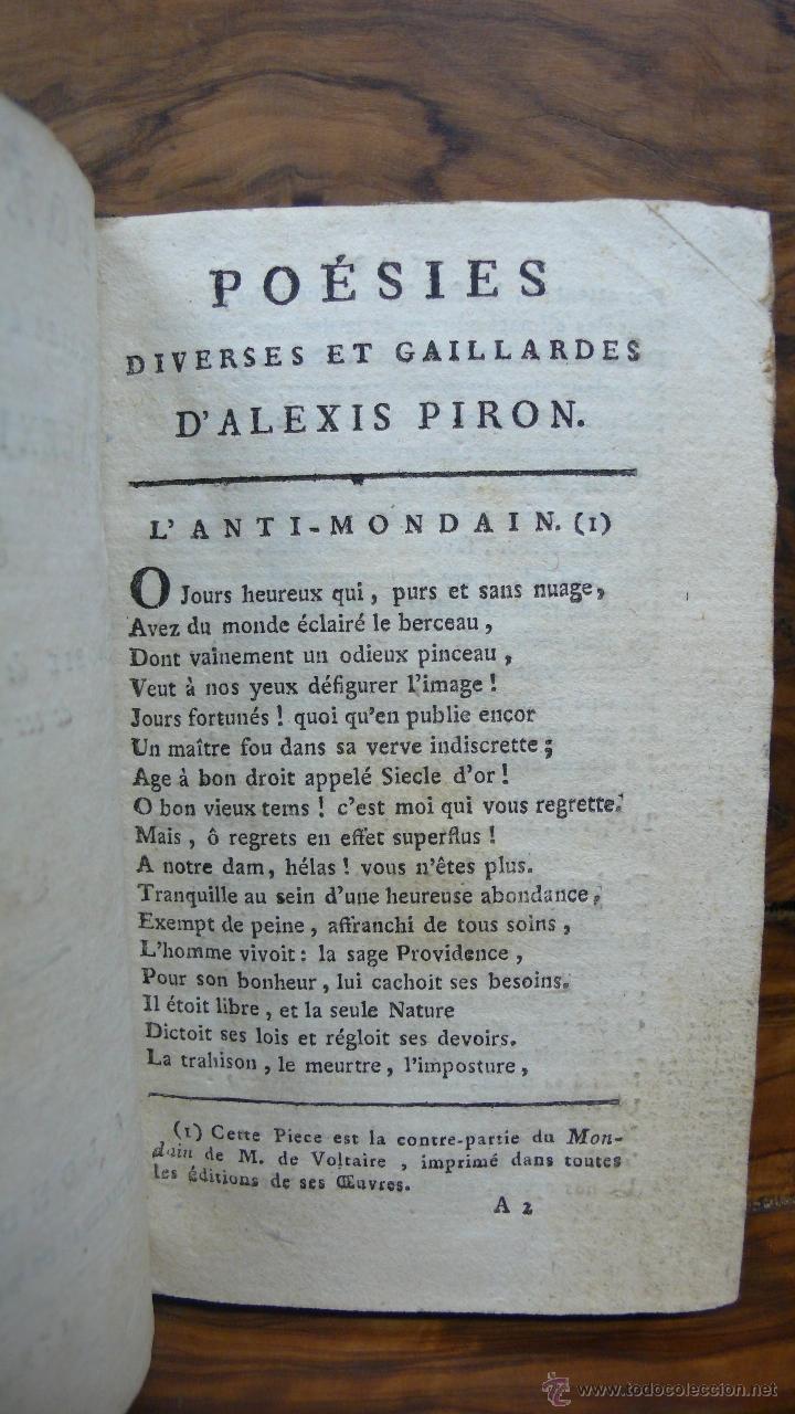 Libros antiguos: POÉSIES DIVERSES ET GAILLARDES. ALEXIS PIRON. 1792. - Foto 3 - 53373448