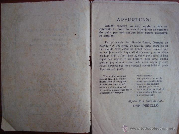 Libros antiguos: GLOSES DEN PEP PERELLÓ, GARRIGUER DE MARINA VEY. ALGAIDA. MALLORCA. 1927. - Foto 2 - 54210455
