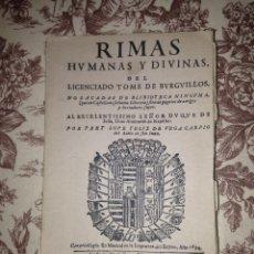 Libros antiguos: RIMAS HUMANAS Y DIVINAS. Lote 54305168