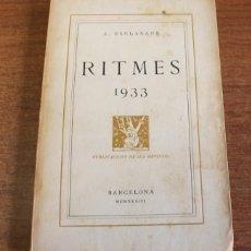 Libros antiguos: RITMES, 1933. ESCLASANS, A. PUBLICACIONS DE 'LA REVISTA'. BARCELONA, 1933. DEDICAT.. Lote 54905336